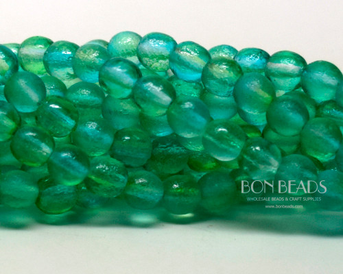 6mm Mint Celestial Etched Round Smooth Druks (300 Pieces)