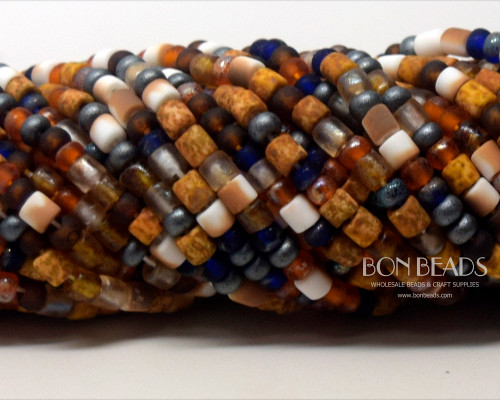 6/0 Aged Matted Honeycomb Tube Picasso Mix (1/4 Kilo)