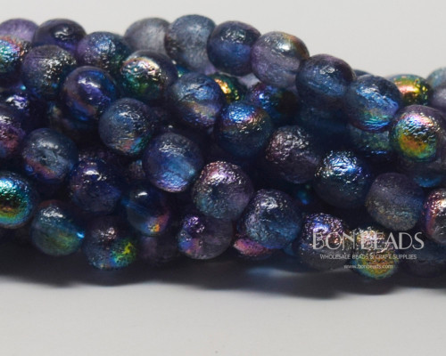 6mm Magic Blueberry Etched Round Smooth Druks (300 Pieces)