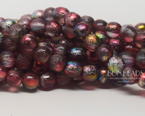 6mm Magic Raspberry Etched Round Smooth Druks (300 Pieces)
