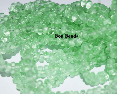 3x6mm Light Peridot Green Etched Farfalles (1/4 Kilo)
