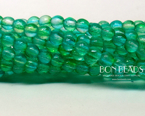 4mm Etched Mint Celestial Smooth Round Druk (600 Pieces)
