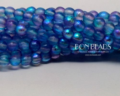 4mm Etched Aqua Celestial Smooth Round Druk (600 Pieces)