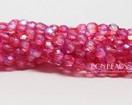 6mm Pink Celestial Etched Round Fire Polished (300 Pieces)