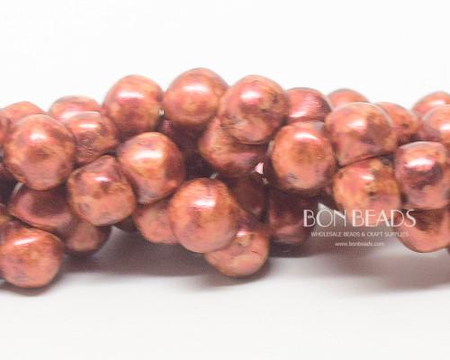 7mm Orange Bohemian Picasso Wide Cap Mushroom Buttons (150 Pieces)