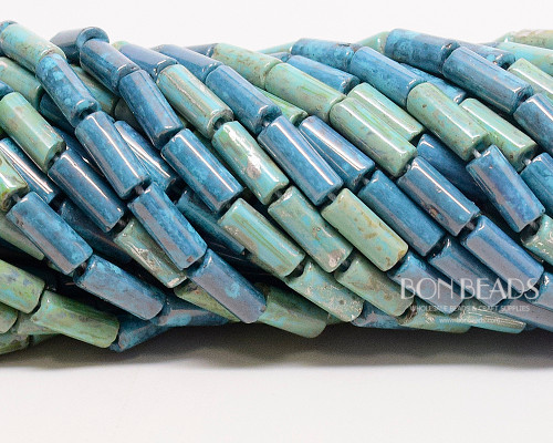 9x4mm Aged Turquoise Picasso Mix Bugles (1/4 Kilo)