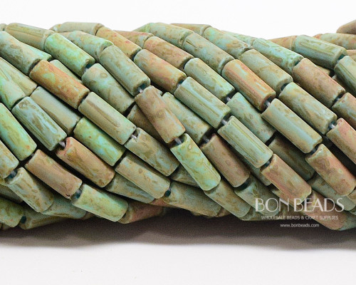 9x4mm Aged Wampum Matted Green Turquoise Metallic Picasso Bugles  (1/4 Kilo)