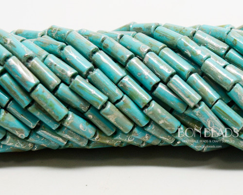 9x4mm Aged Wampum Green Turquoise Metallic Picasso Bugles (1/4 Kilo)