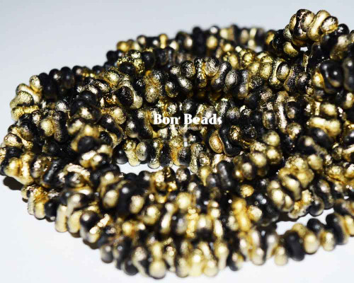 3x6mm Black Gold Etched Farfalles (1/4 Kilo)