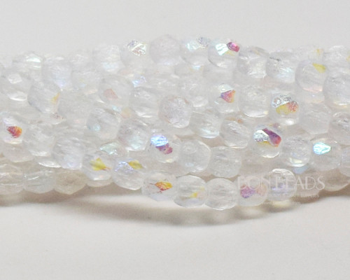 3mm Crystal AB Etched Round Fire Polished (600 Pieces)