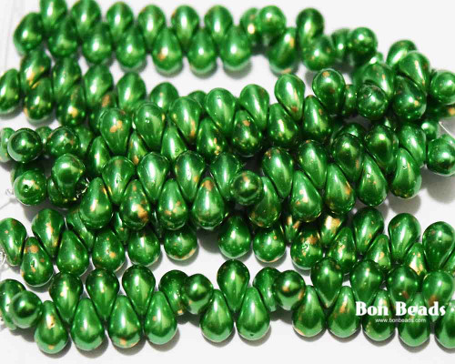 4x6mm Lime Gold Dust Drops (300 Pieces)