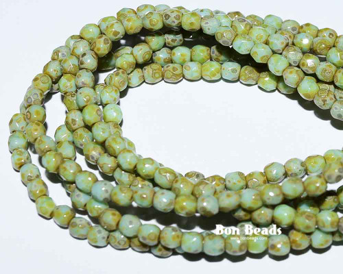 3mm Green Turquoise Picasso Round Fire Polished (600 Pieces)