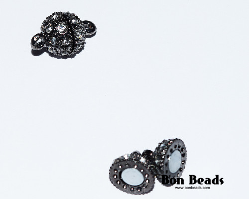 16x10mm Black Rhinestone Magnetic Clasp (Each)