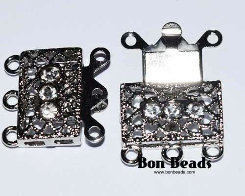 18x17x7mm Six Hole Silver Box Clasps with Rhinestones (Each)
