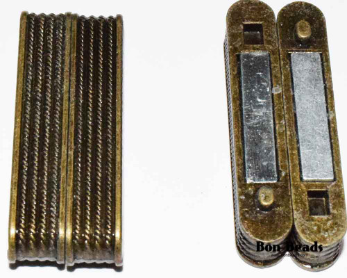 38X14X7mm Old Gold Ridge Magnetic Bar Clasp (Each)