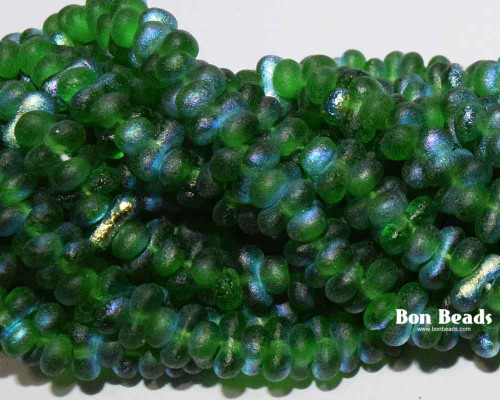 3x6mm Emerald AB Etched Farfalles (1/4 Kilo)