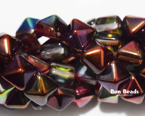 8mm Magic Ruby 2 Hole Pyramids (150 Pieces)