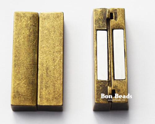 37x19x7mm Classic Antique Bronze Magnetic Bar Clasp (Each)
