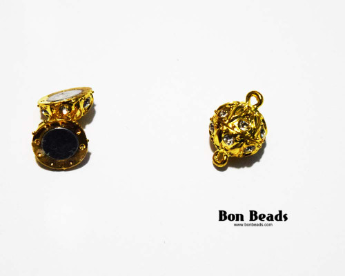 19x12.5mm Gold Etched Rhinestone Magnetic Clasp (Each)