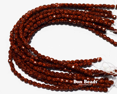 4mm Light Brown Round Snake Fire Polished (600 Pieces)