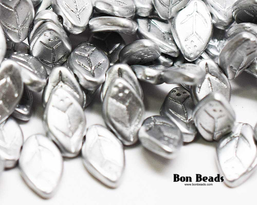 12x7mm Silky Silver Leaves (300 Pieces)