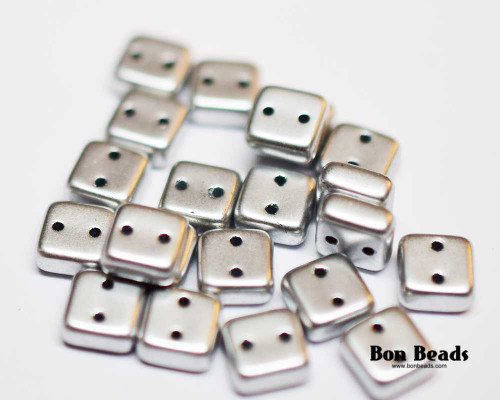 6mm Silky Silver 2 Hole Chexx (100 Grams)