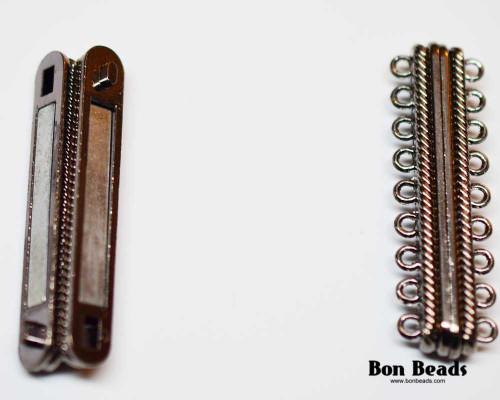 48x15x7mm 18 Holes Black Magnetic Bar Clasp (Each)