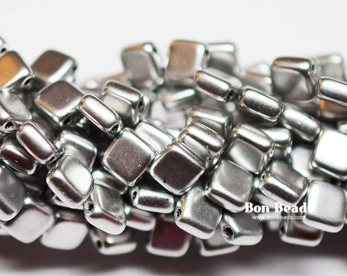 6mm Silky Silver 2 Hole Tiles (600 Pieces)
