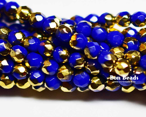 4mm  Royal Gold Round Fire Polished (600 Pieces)