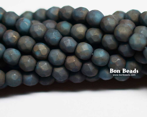 4mm Matted Turquoise Moon Dust Round Fire Polished (600 Pieces)