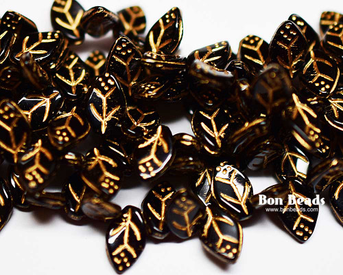 12x7mm Black Gold Lined Leaves (300 Pieces)