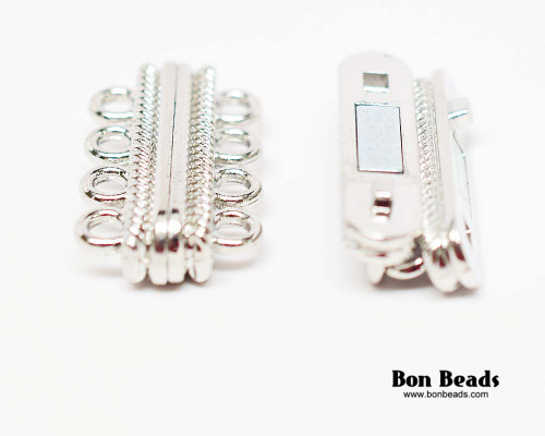 30x17x7mm 8 Holes Silver Magnetic Bar Clasp (Each)
