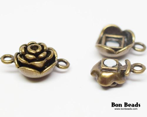 20x13x9mm Antique Bronze Flower Magnetic Clasp (Each)