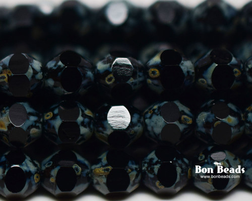 6mm Black Picasso Cut Fire Polished Bicones (300 Pieces)
