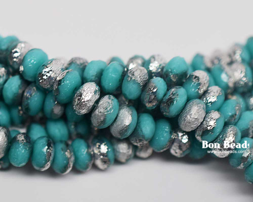 4x7mm Green Turquoise Silver Etched Rondelles (300 Pieces)