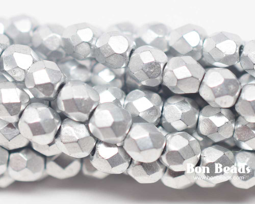 4mm Silky Silver Round Fire Polished (600 Pieces)