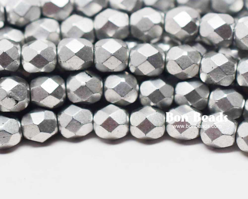 6mm Silky Silver Round Fire Polished (300 Pieces)