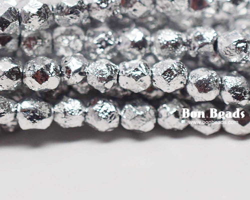 6mm Silver Ore Etched Round Fire Polished (300 Pieces)