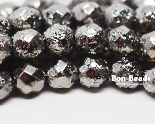 8mm Full Chrome Ore Etched Round Fire Polished (150 Pieces)