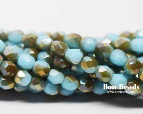 4mm Blue Turquoise Celsian Round Fire Polished (600 Pieces)