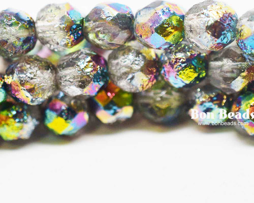 8mm Crystal Marea Etched Round Fire Polished (150 Pieces)