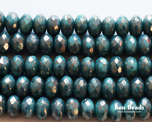 4x7mm Green Turquoise Moondust Rondelles (300 Pieces)