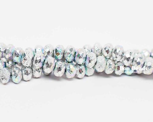 4x7mm Silver Ore AB Etched Rondelles (300 Pieces)