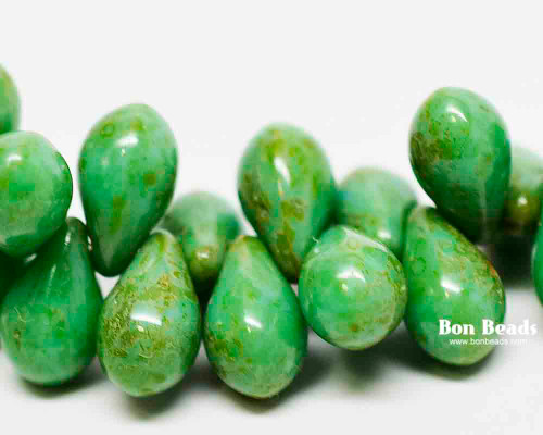 6x9mm Green Turquoise Picasso Drops (150 Pieces)
