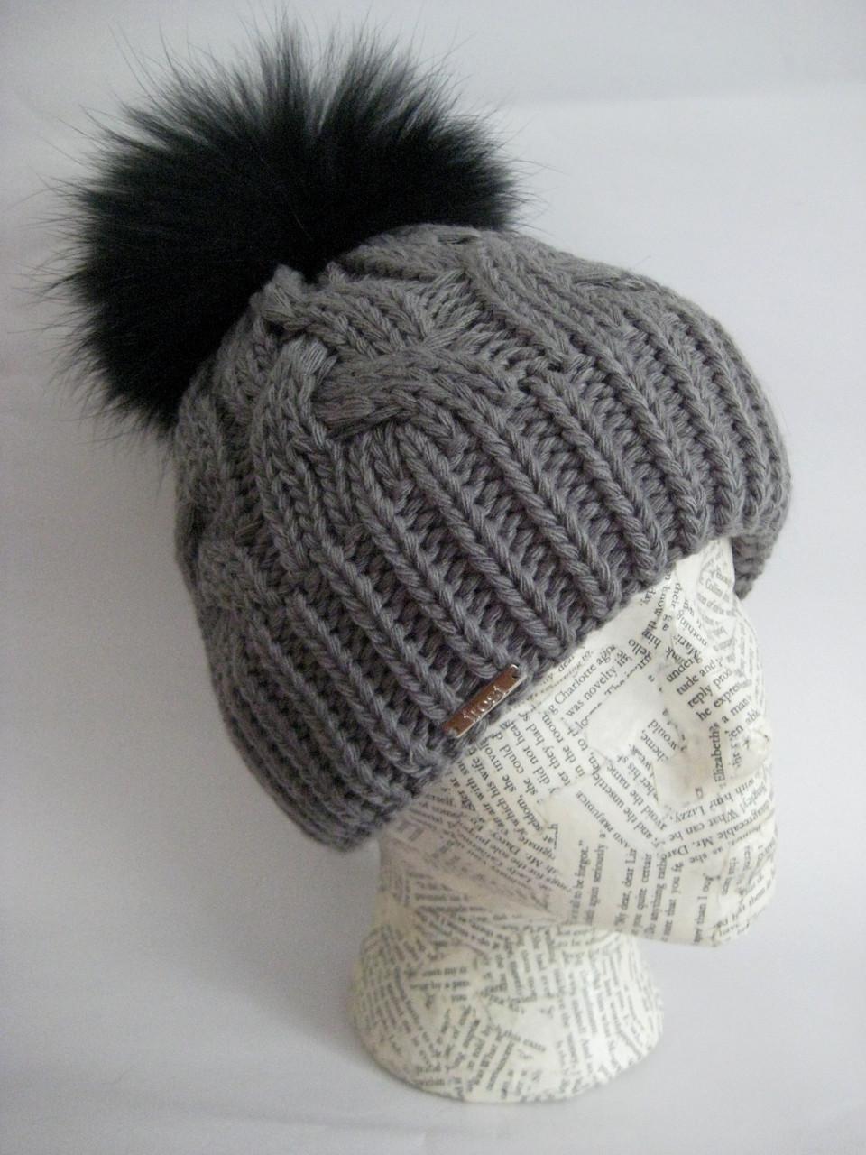 4d17270c Winter hat for women  Classic cable knit beanie  Fox fur pom pom hat