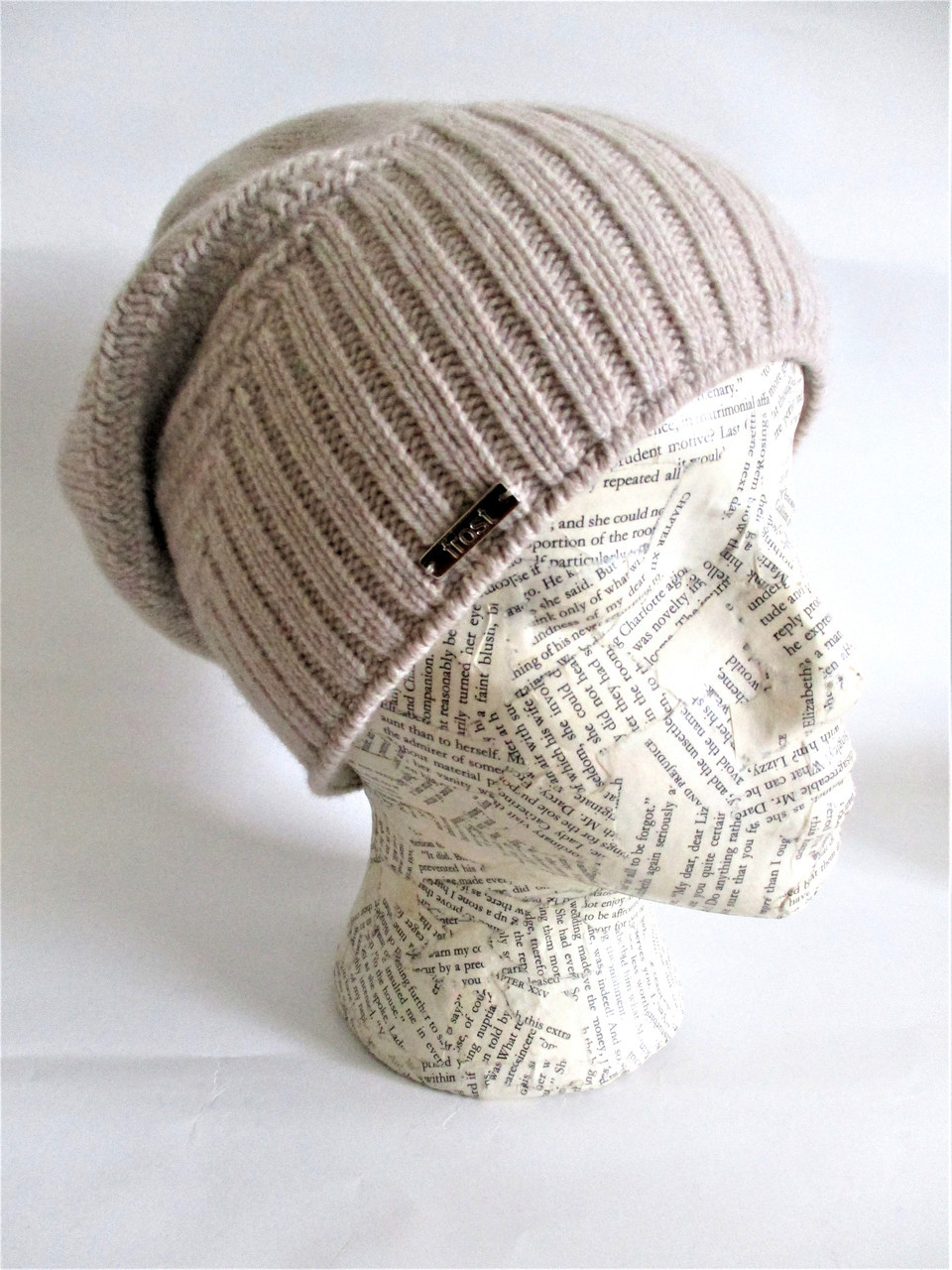 8293ec00 Slouchy cashmere hat lined with fleece band - Frost Hats