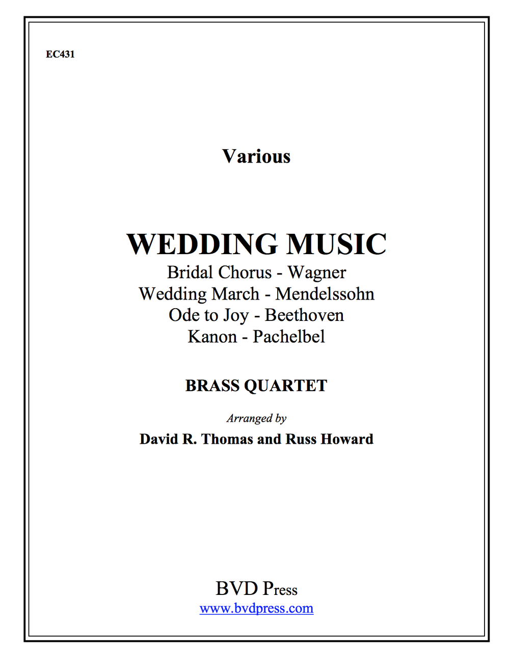 Wedding Music for Brass Quartet (Various/Thomas) PDF Download