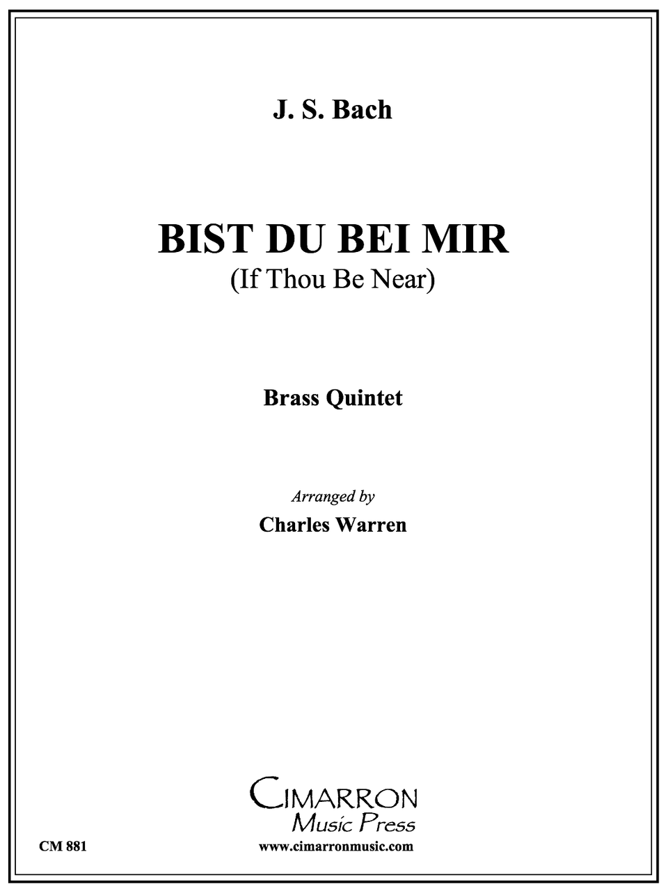 Bist Du Bei Mir For Brass Quintet Bacharr Warren Pdf Download