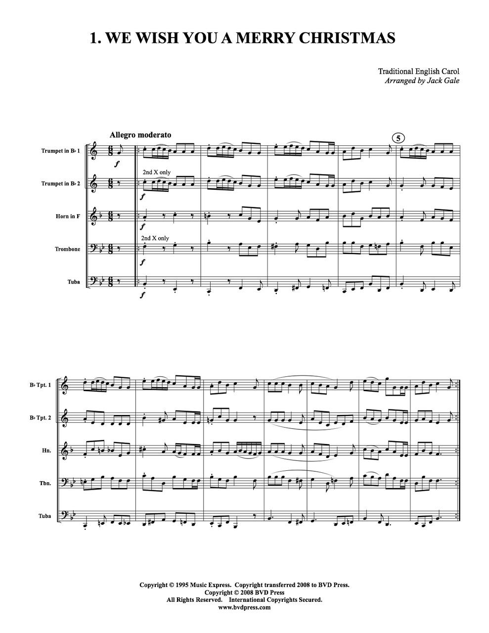 Christmas Carol Music.12 Christmas Carols For Brass Quintet Trad Arr Jack Gale