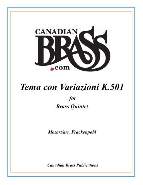 Tema con Variazioni K. 501 Brass Quintet (Mozart/ arr. Frackenpohl) archive copy PDF download